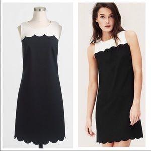 Jcrew Scalloped detail black and white dress